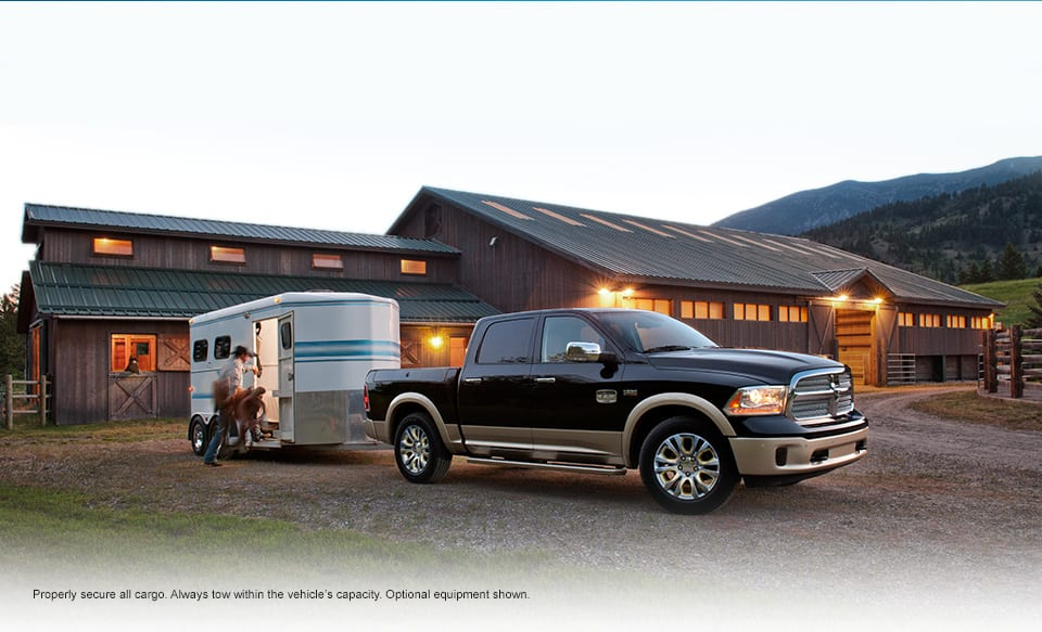 2016 Ram 1500 towing a horse trailer