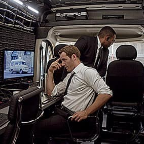 ProMaster van office interior with two workers