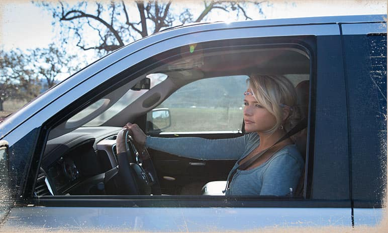 Miranda Lambert behind the wheel of a Ram 1500 Laramie Longhorn