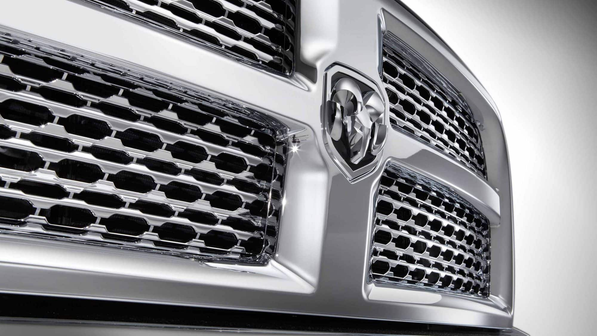 Close on grille of 2018 RAM 2500