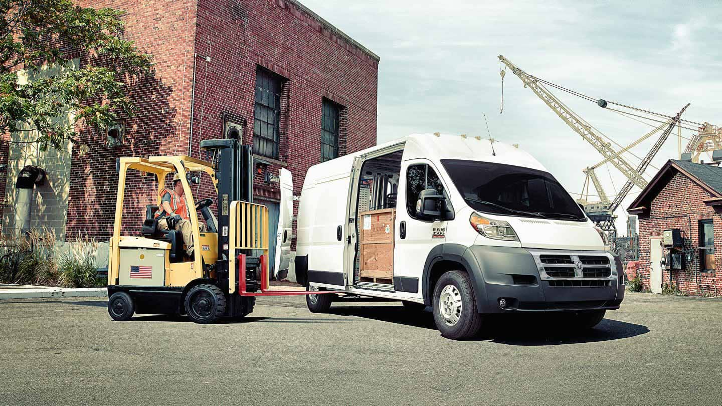 2018 Ram ProMaster Being Loaded with a Forklift