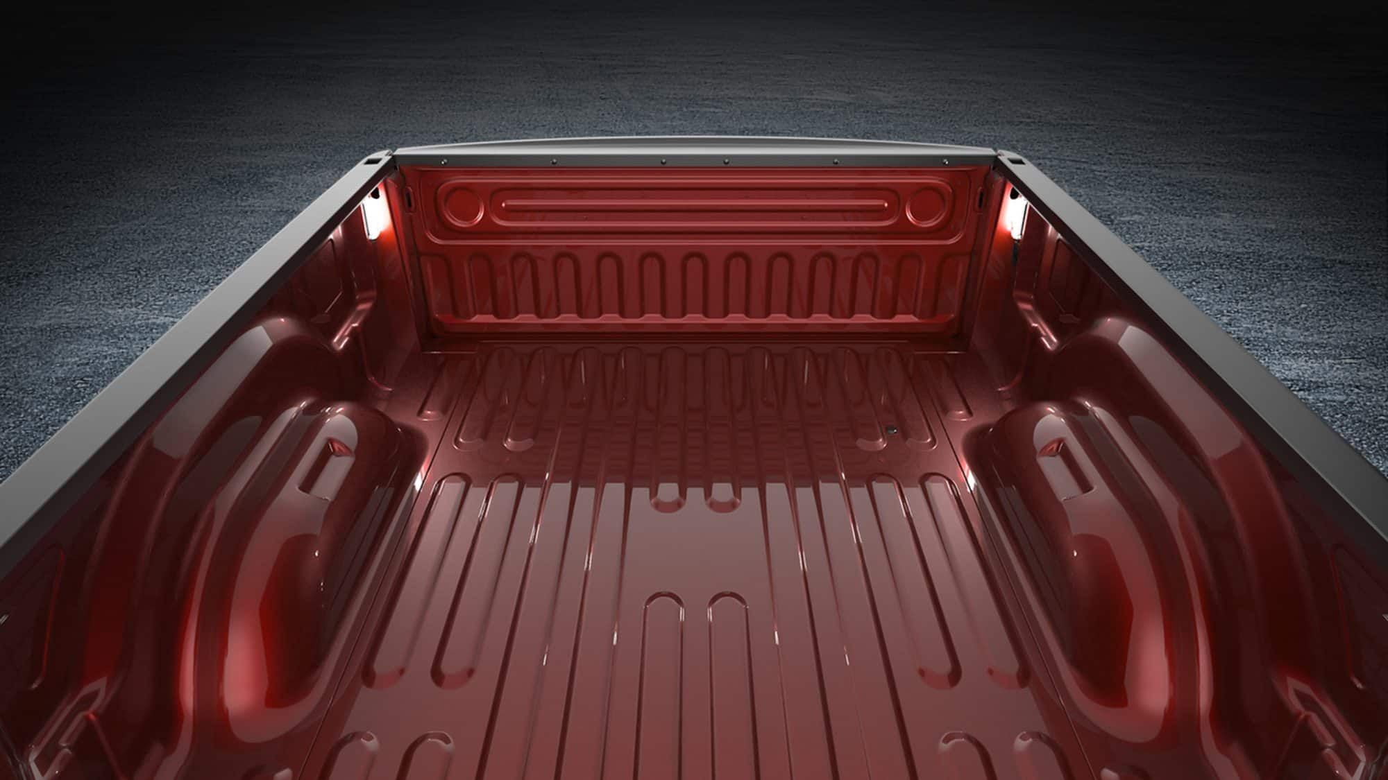 Empty bed of red 2018 RAM 1500