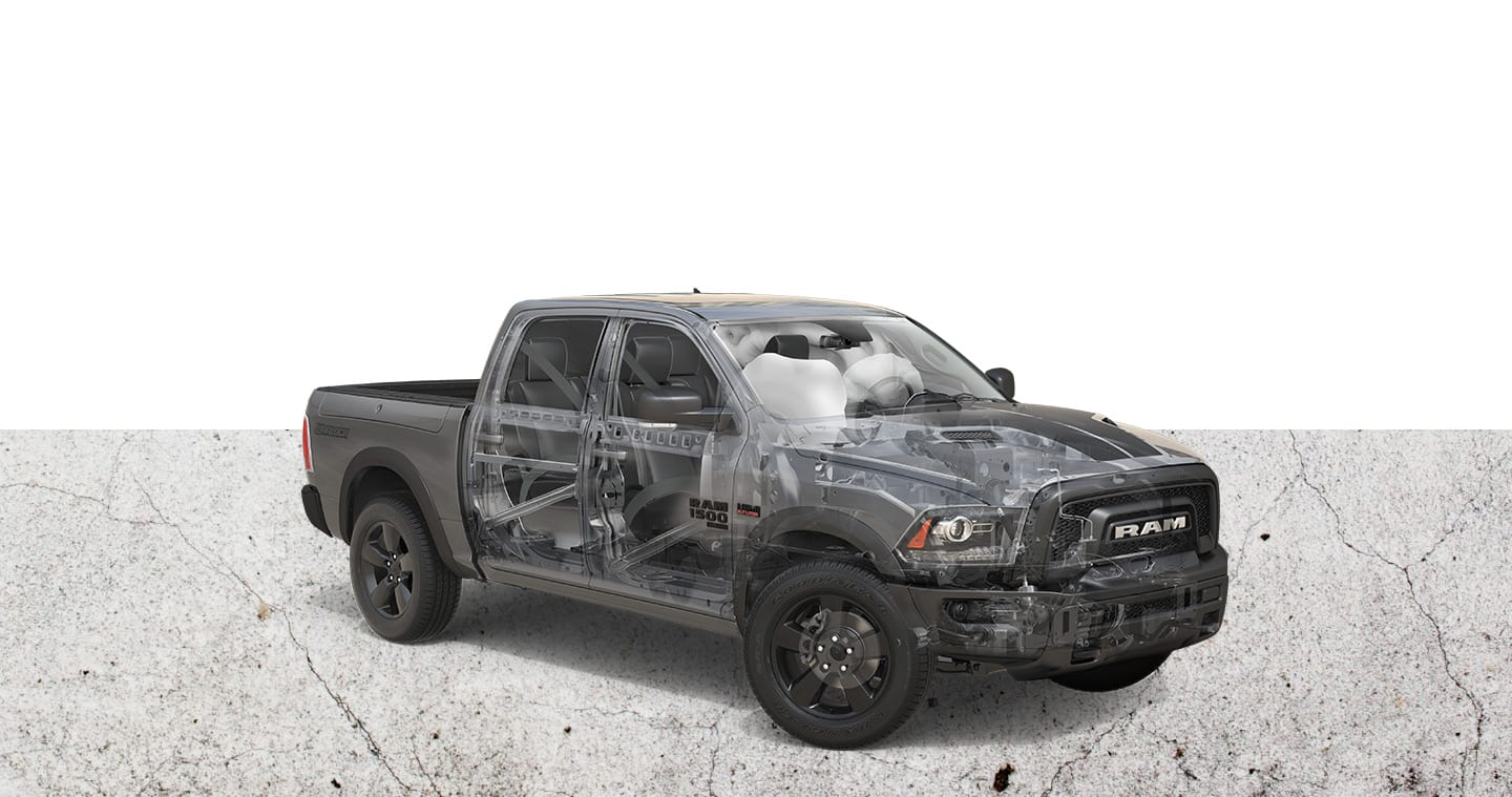 An under-the-skin view of the steel frame and airbags on a 2019 Ram 1500 Classic Warlock.