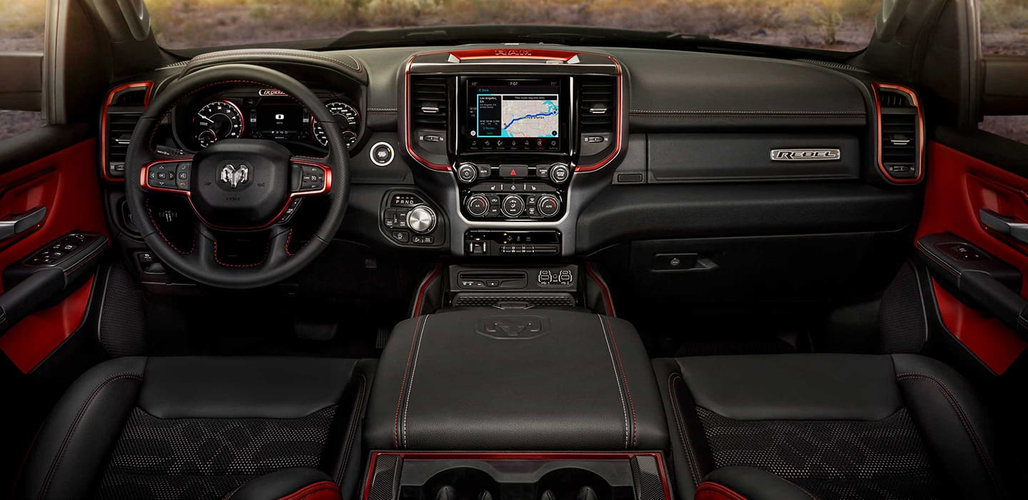 The instrument panel, steering wheel and dashboard of the All-New Ram 1500 Rebel.