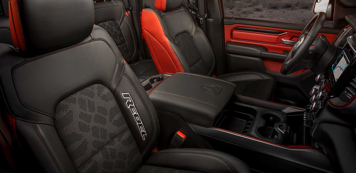 The front seats of the All-New Ram 1500 Rebel.