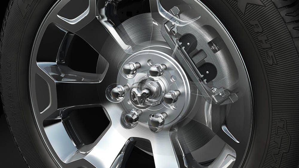 Close on chrome wheel of 2019 Ram 1500