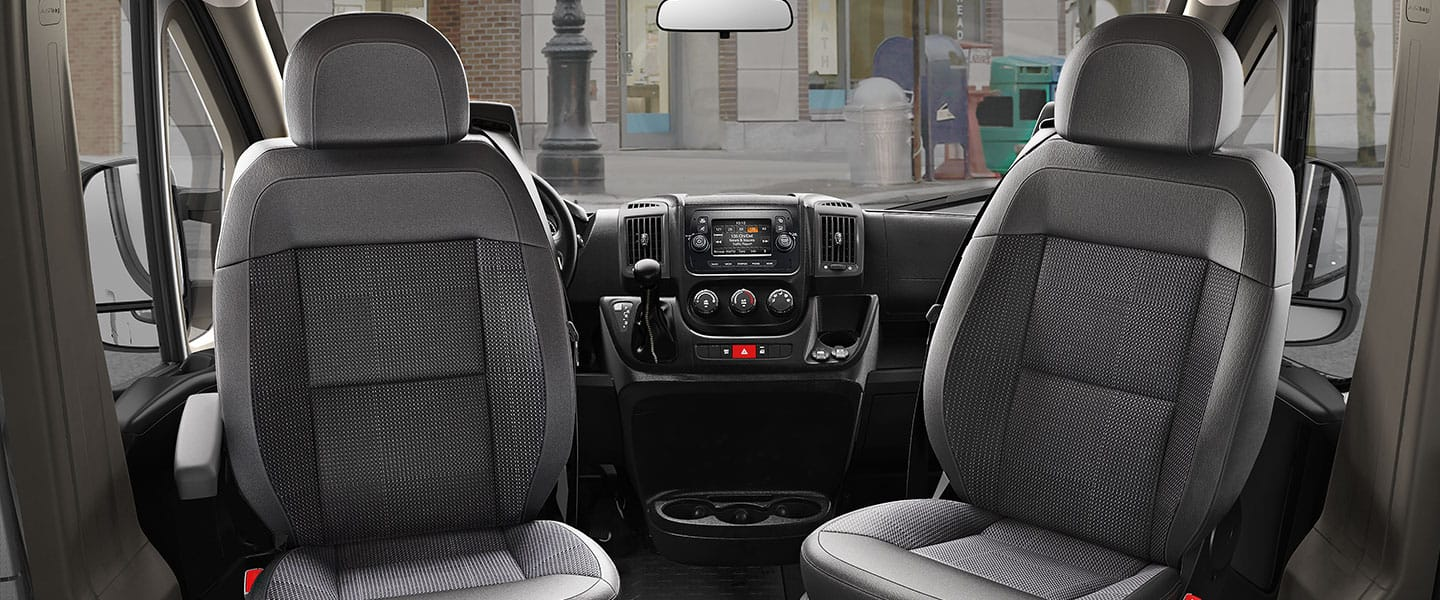 Interior view of Ram ProMaster focusing on the swivel features of the two front seats.