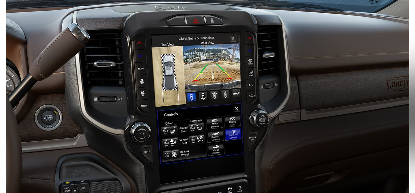 Interior. Touch and go. The available 12-inch touchscreen is the largest screen offered on a heavy-duty truck. An impressive 360-degree Surround View Camera with Trailer Reverse Guidance View is also available.