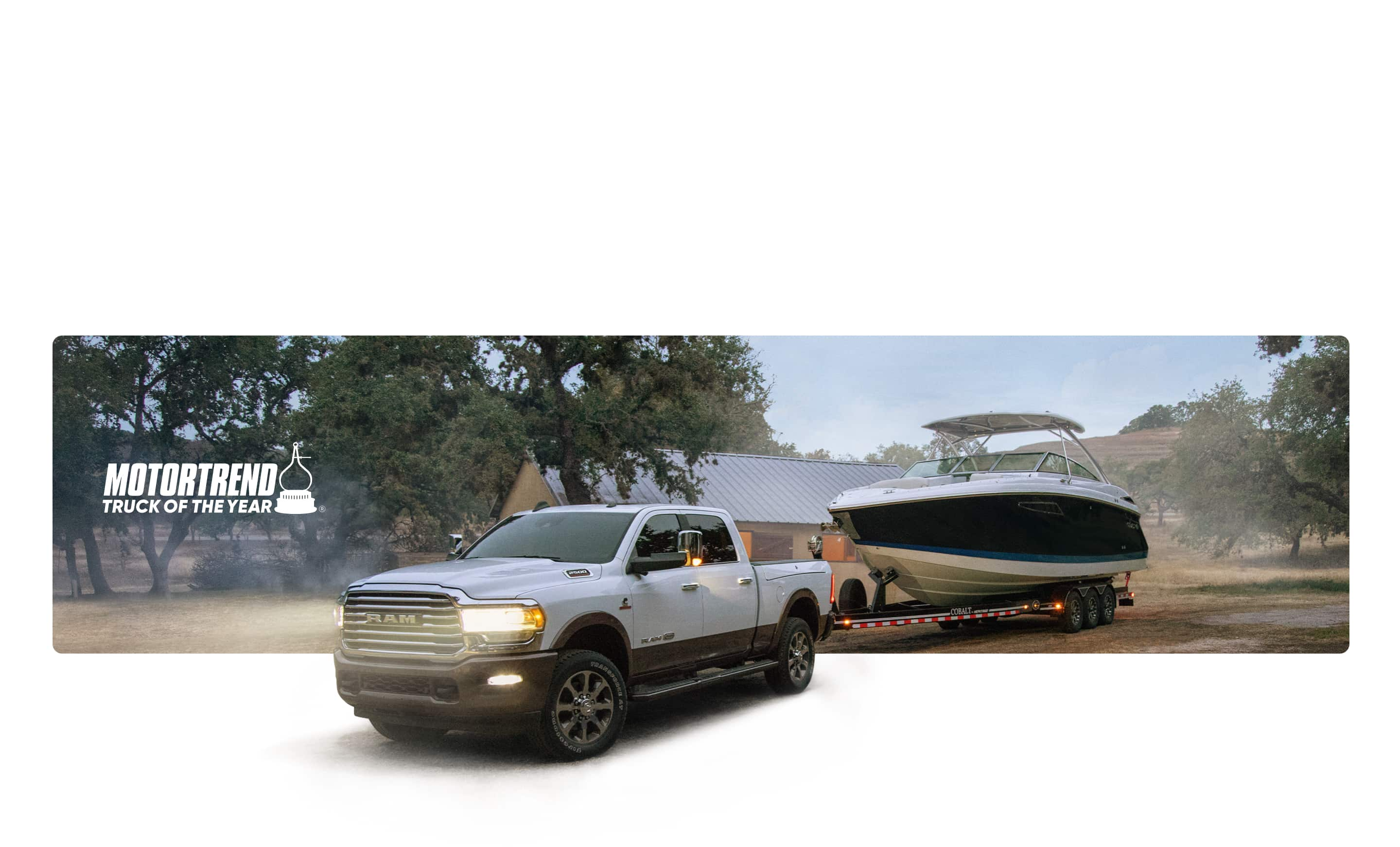 MotorTrend Truck of the Year. The 2020 Ram 2500 towing a boat.