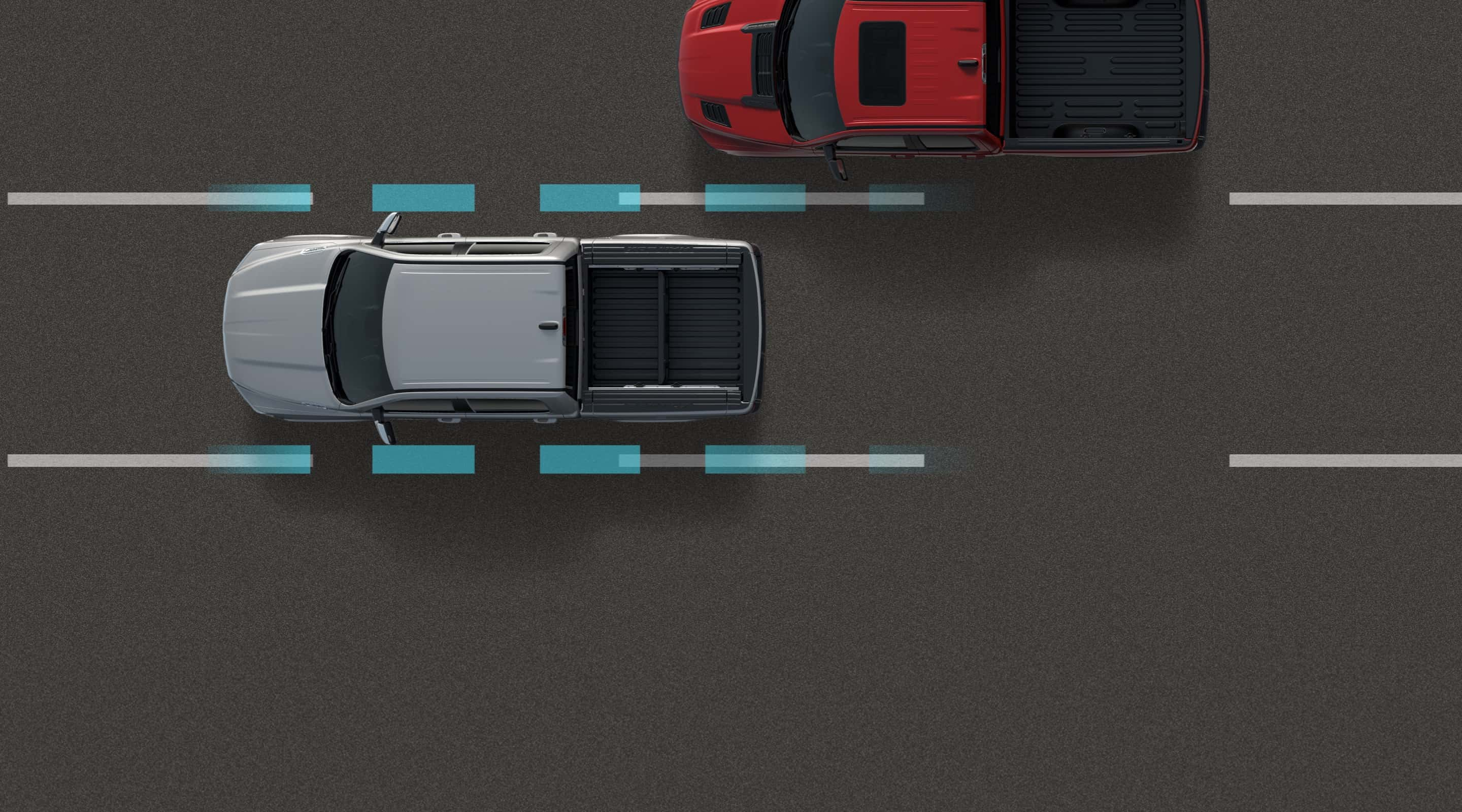 An illustration of the sensors on the 2020 Ram 3500 superimposed on the lane markers on the road.