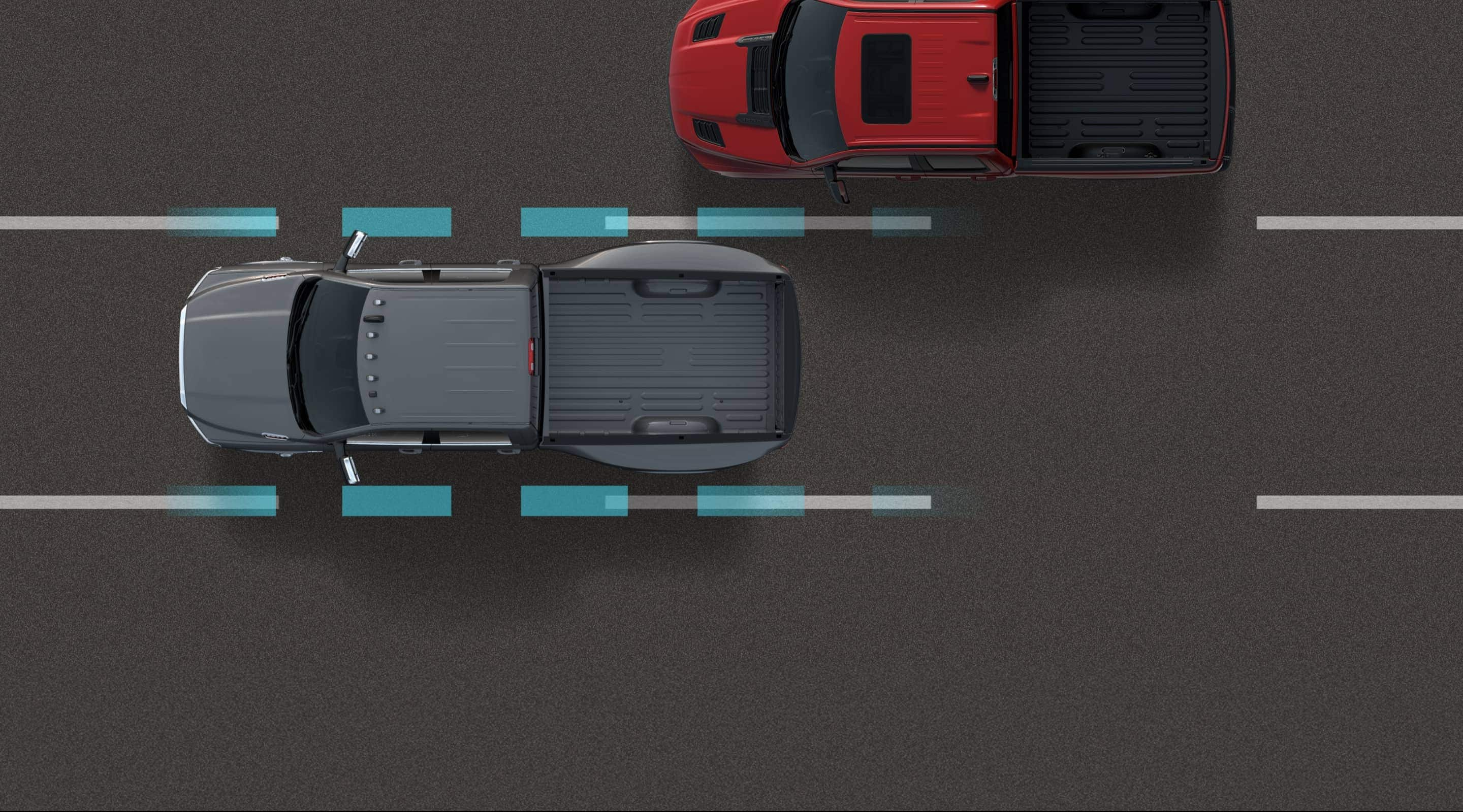 Illustration of the sensors in the 2020 Ram 3500 recognizing the lane markers on the road under the vehicle.