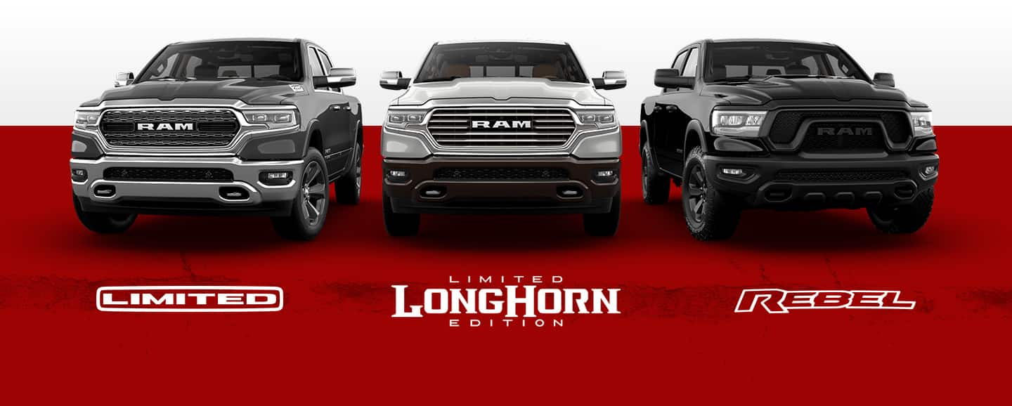A slider showing three of the 2021 Ram 1500 trim levels: Limited, Limited Longhorn Edition, and Rebel.