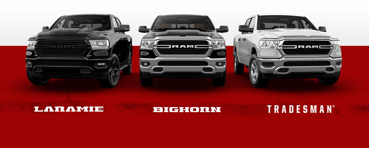 A slider showing three of the 2021 Ram 1500 trim levels: Laramie, Big Horn and Tradesman.