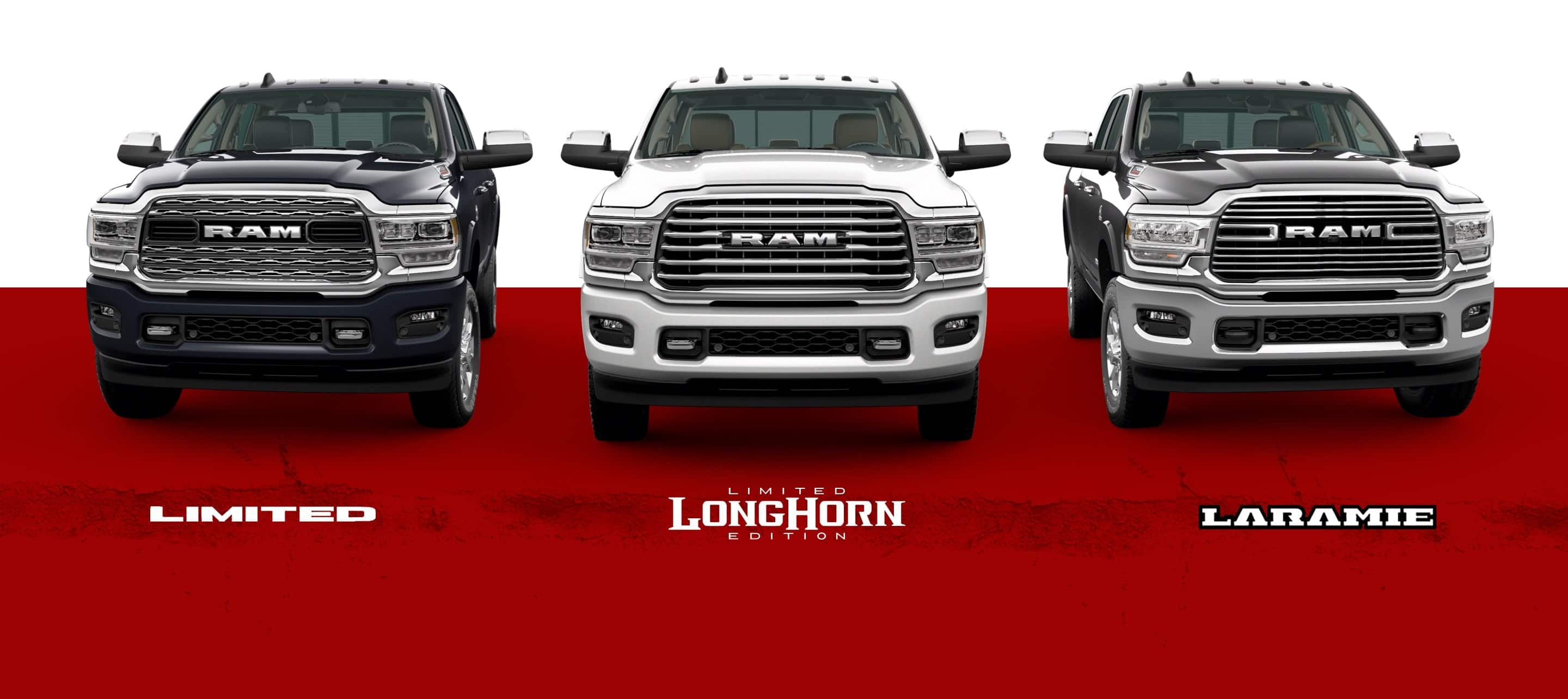 A slider showing three of the 2021 Ram 2500 trim levels: Limited, Limited Longhorn Edition, and Laramie.