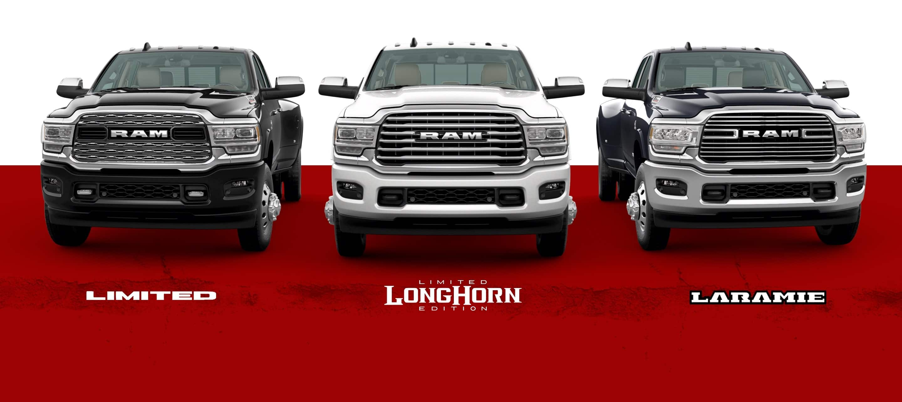 A slider showing three of the 2021 Ram 3500 trim levels: Limited, Limited Longhorn Edition, and Laramie.