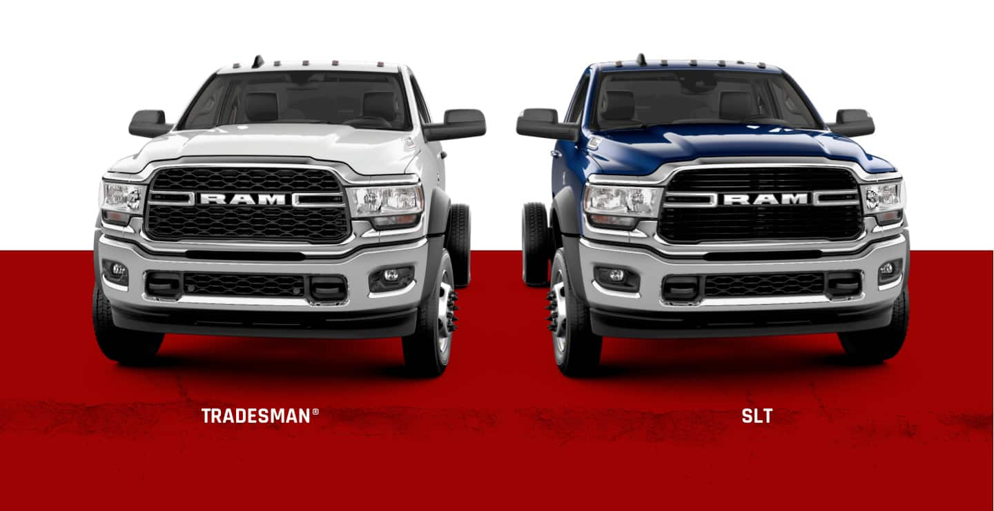 A slider showing two trims of the 2021 Ram Chassis Cab: Tradesman and SLT.