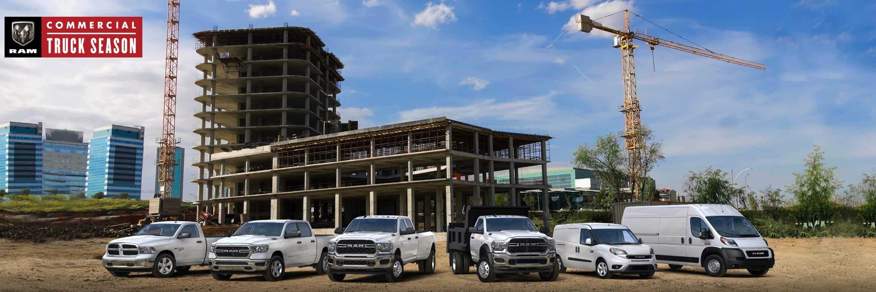 The 2021 Ram lineup parked at a commercial construction site. From left to right: four Tradesman models--a Ram 1500 Classic, Ram 1500, Ram 3500 and Ram 5500, followed by a Ram ProMaster City SLT Cargo Van and a Ram ProMaster 2500 Cargo Van. Ram Commercial Truck Season logo.