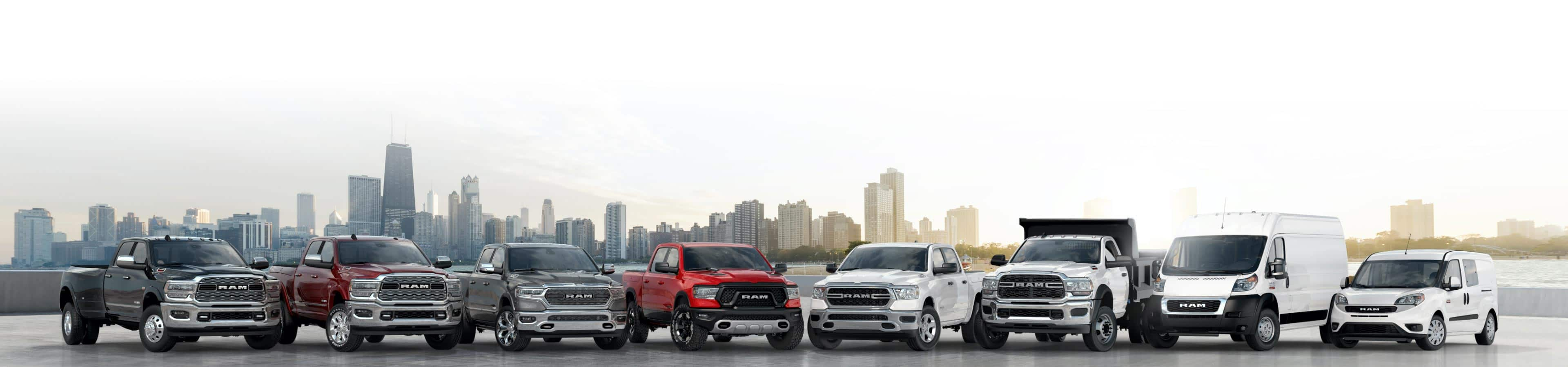 The 2021 Ram lineup—a combination of eight trucks and vans.