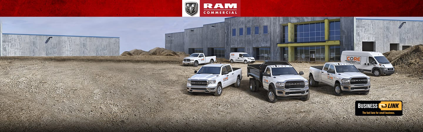 Six Ram vehicles including the Ram ProMaster City, Ram 1500 Classic, Ram 1500, Ram Chassis Cab, Ram 3500, and Ram ProMaster parked side by side at a construction site. Business Link. The fast lane for small business.