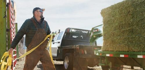 Worker near a Ram Chassis Cab that is towing bales of hay on a flatbed.