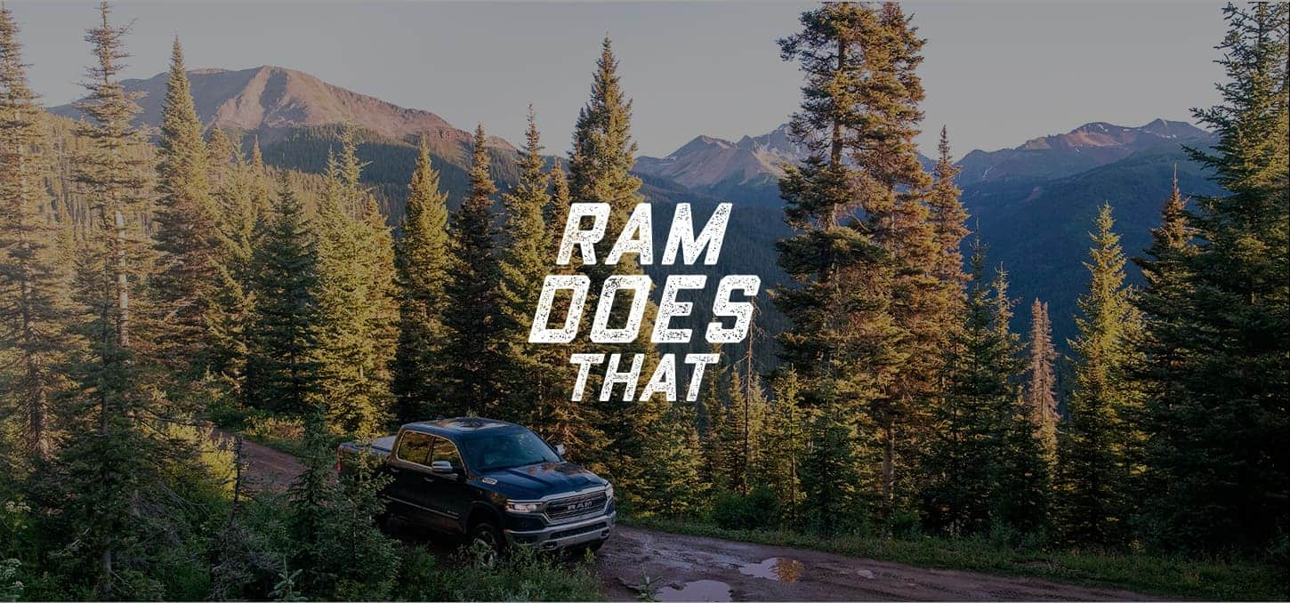 Ram Does That. A 2019 Ram 1500 being driven on a mountain road.