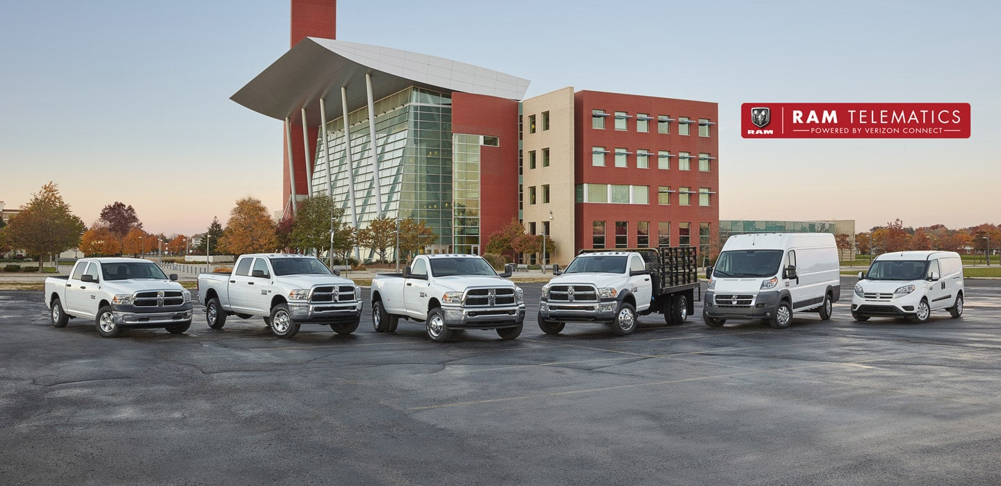 Six Vehicles: Ram 1500, 2500, 3500, Chassis Cab, ProMaster and ProMaster City parked side by side in a parking lot.  Ram Telematics Powered by Verizon Connect
