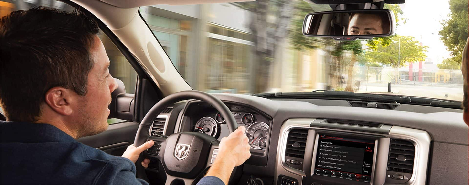 Speak your mind. Stay in control of your Ram Brand vehicle with Voice Command. Now you can access your Uconnect system without taking your hands off the wheel or your eyes off the road.