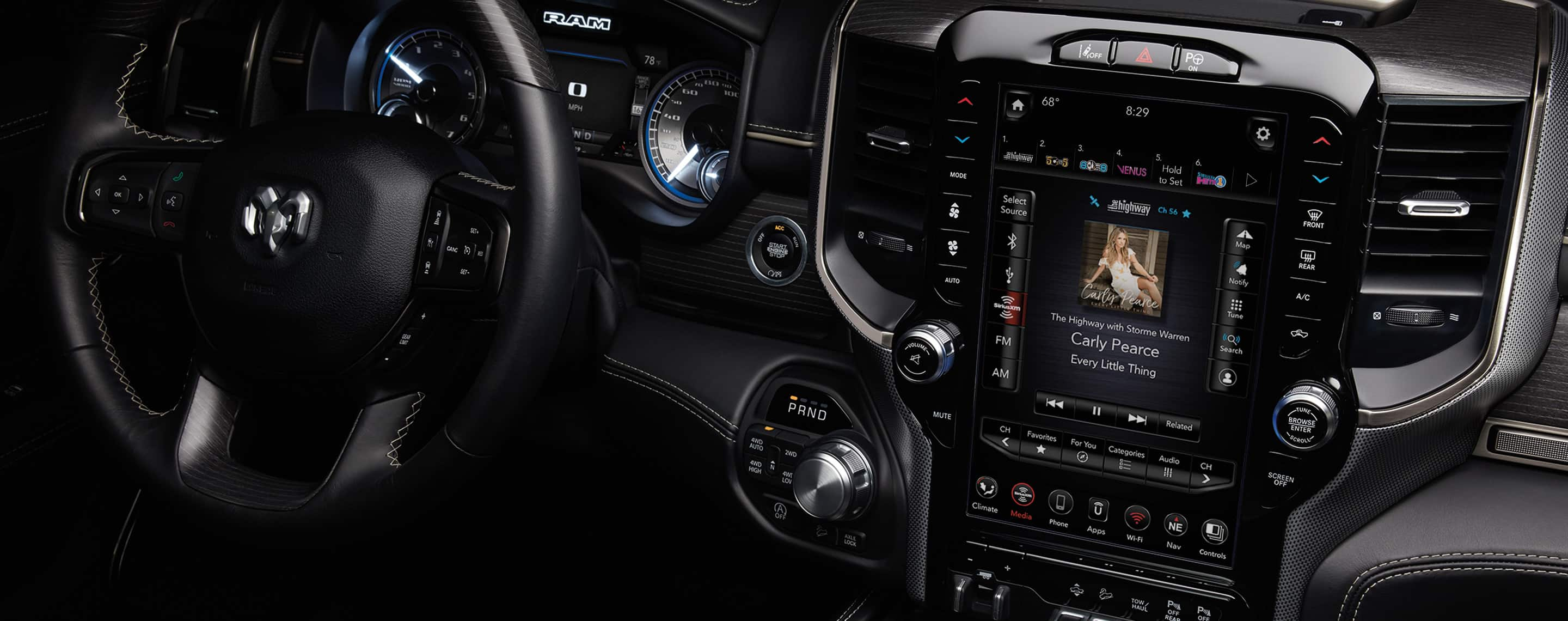 The all-new 2019 Ram 1500. The available U-Connect 12.0 with Navigation features a largest-in-class 12-inch touchscreen. A customizable home screen with split-screen capability, pinch-and-zoom technology and redundant controls for key features makes it easy to access your favorite features and apps. Full-screen Navigation helps keep you on course and SiriusXM with 360L keeps you connected to your entertainment wherever you go, with enhanced usability and hours of on-demand content.