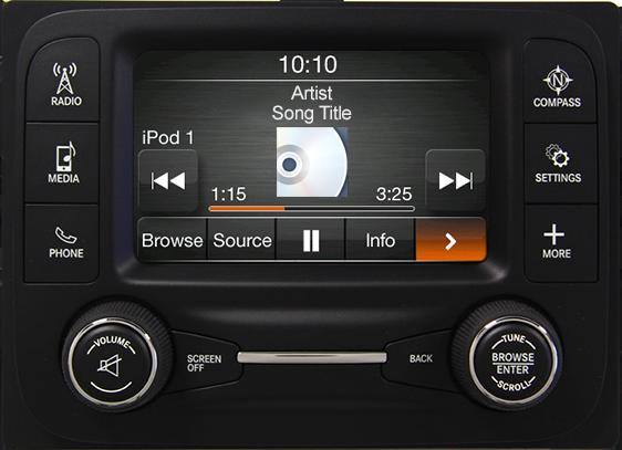 Tablero con pantalla táctil de alta resolución Uconnect® 5.0 (RA2) con comando de voz y Bluetooth®