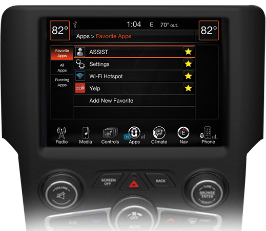 Uconnect® screen with Sirius Satellite Radio
